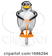 3d Penguin On A Pogo Stick