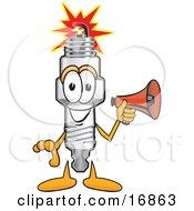 Spark Plug Mascot Cartoon Character Holding A Red Megaphone Bullhorn