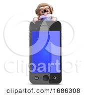 3d Old Pilot Looks Over Smartphone