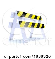 3d Yellow Striped Road Works Barrier