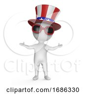 Poster, Art Print Of 3d Cartoon Uncle Sam Character Wearing Cool Sunglasses