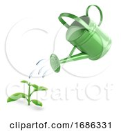 3d Green Watering Can And Seedling