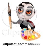 Poster, Art Print Of 3d Funny Cartoon Dracula Vampire Character Holding A Paintbrush And Palette