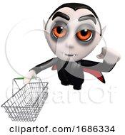 Poster, Art Print Of 3d Funny Cartoon Dracula Vampire Character Holding A Shopping Basket