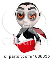 Poster, Art Print Of 3d Funny Cartoon Dracula Vampire Character Reading A Book While Flying