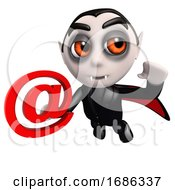 Poster, Art Print Of 3d Funny Cartoon Vampire Dracula Character Holding An Email Address Symbol