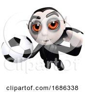 Poster, Art Print Of 3d Funny Cartoon Vampire Dracula Character Holding A Football Soccer Ball