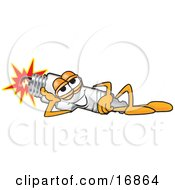 Clipart Picture Of A Spark Plug Mascot Cartoon Character Resting And Lying On His Side by Toons4Biz
