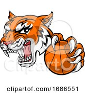 Tiger Baketball Player Animal Sports Mascot by AtStockIllustration
