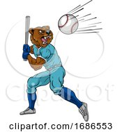 Bear Baseball Player Mascot Swinging Bat At Ball