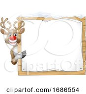 Reindeer Christmas Sign Cartoon