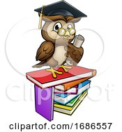 Wise Owl Graduate Teacher Cartoon Character