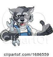 Poster, Art Print Of Wolf Plumber Or Mechanic Holding Spanner