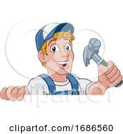 Poster, Art Print Of Handyman Hammer Cartoon Man Diy Carpenter Builder