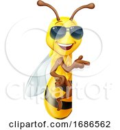 Cool Honey Bumble Bee In Sunglasses Sign Cartoon