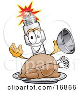 Clipart Picture Of A Spark Plug Mascot Cartoon Character Serving A Thanksgiving Turkey On A Platter by Toons4Biz