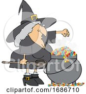 Witch Making A Spell In Her Cauldron