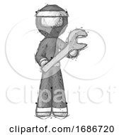 Sketch Ninja Warrior Man Holding Large Wrench With Both Hands