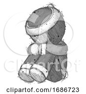 Sketch Ninja Warrior Man Sitting With Head Down Facing Angle Left