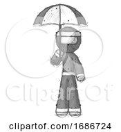 Sketch Ninja Warrior Man Holding Umbrella