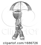 Sketch Ninja Warrior Man Woman Walking With Umbrella