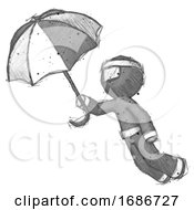 Sketch Ninja Warrior Man Flying With Umbrella
