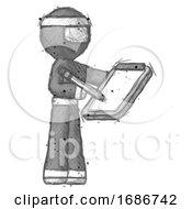 Sketch Ninja Warrior Man Using Clipboard And Pencil