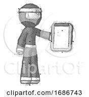 Sketch Ninja Warrior Man Showing Clipboard To Viewer