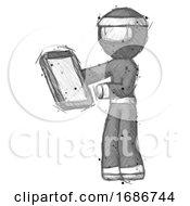 Sketch Ninja Warrior Man Reviewing Stuff On Clipboard