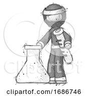Sketch Ninja Warrior Man Holding Test Tube Beside Beaker Or Flask