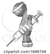 Sketch Ninja Warrior Man Using Syringe Giving Injection