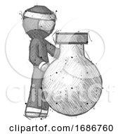 Sketch Ninja Warrior Man Standing Beside Large Round Flask Or Beaker