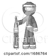 Sketch Ninja Warrior Man Standing With Large Thermometer