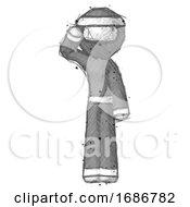 Poster, Art Print Of Sketch Ninja Warrior Man Soldier Salute Pose