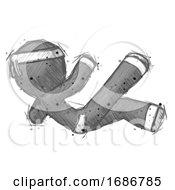 Sketch Ninja Warrior Man Falling Backwards