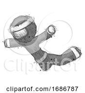 Sketch Ninja Warrior Man Skydiving Or Falling To Death