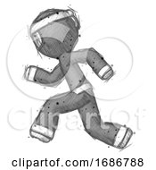 Poster, Art Print Of Sketch Ninja Warrior Man Running Fast Left