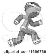 Poster, Art Print Of Sketch Ninja Warrior Man Running Fast Right
