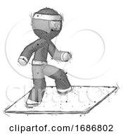 Sketch Ninja Warrior Man On Postage Envelope Surfing