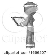 Sketch Ninja Warrior Man Looking At Tablet Device Computer With Back To Viewer