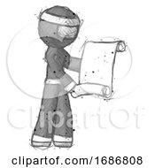 Poster, Art Print Of Sketch Ninja Warrior Man Holding Blueprints Or Scroll