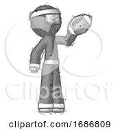 Sketch Ninja Warrior Man Holding Football Up