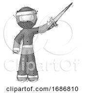 Sketch Ninja Warrior Man Holding Sword In The Air Victoriously