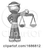 Poster, Art Print Of Sketch Ninja Warrior Man Holding Scales Of Justice