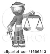 Poster, Art Print Of Sketch Ninja Warrior Man Justice Concept With Scales And Sword Justicia Derived
