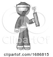 Poster, Art Print Of Sketch Ninja Warrior Man Holding Dynamite With Fuse Lit