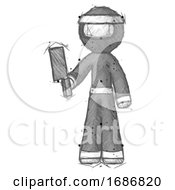 Poster, Art Print Of Sketch Ninja Warrior Man Holding Meat Cleaver
