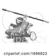 Sketch Ninja Warrior Man Flying In Gyrocopter Front Side Angle Top View