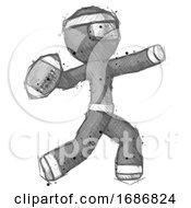 Sketch Ninja Warrior Man Throwing Football