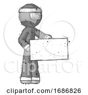 Sketch Ninja Warrior Man Presenting Large Envelope